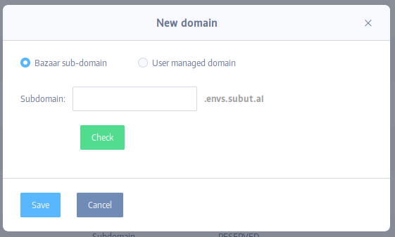 New domain dialog